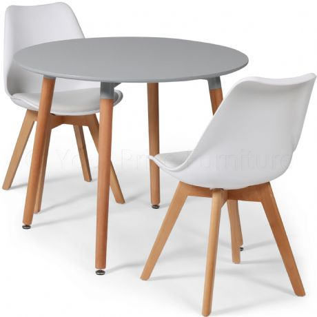 Toulouse Tulip Eiffel Designer Dining Set Grey Round Table & 2 White Chairs Sale Now On Your Price Furniture